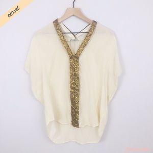 [SYLK] Gold/Cream Silk V-Neck Blouse